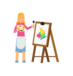 young cartoon blonde woman character painting on vector image