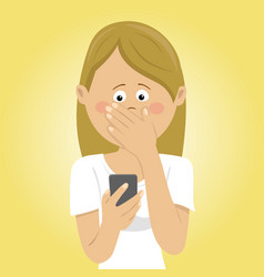 Young worried woman received bad message vector