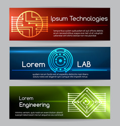 Digital engineering banner set computer vector