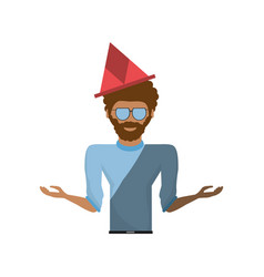 fun guy celebration happy vector image