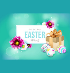 easter card with gift box eggs and flowers vector image