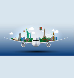 The concept travel the world on the airplanes vector