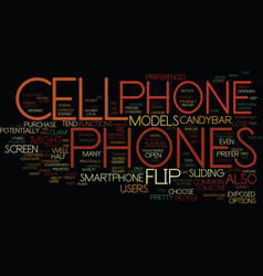 Flip cell phones text background word cloud vector