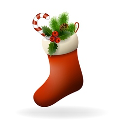 Red Christmas sock vector image