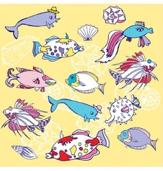 Yellow background with fishes and cockleshells vector