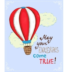 poster with hot air balloon vector image
