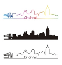 Cincinnati skyline linear style with rainbow vector
