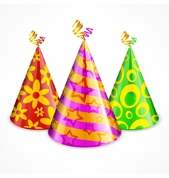 Three party hats on white vector