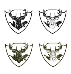 Set of vintage hunting and fishing crests vector