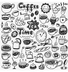 tea cups coffee doodles vector image