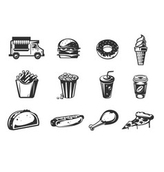 Black icons - car fast delivery of food or vector