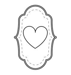 card love heart ornament line vector image