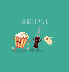 cartoon fast food friends forever vector image