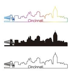 Cincinnati skyline linear style with rainbow vector