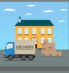 delivery truck with cardboard boxes near house vector image vector image