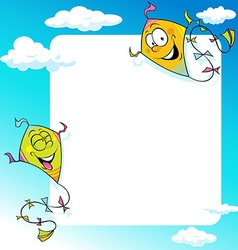 design with two flying kite - frame vector image vector image