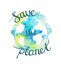 Earth day with hand drawn watercolor planet vector