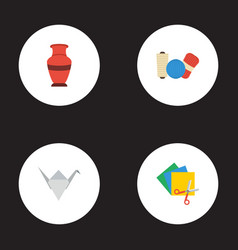 flat icons shop paper figure pottery and other vector image