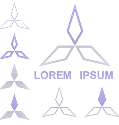 Geometric triangular logo set vector