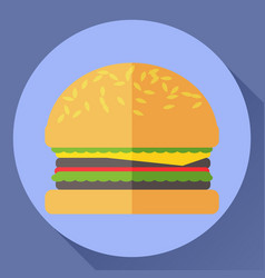 hamburger flat icon vector image vector image