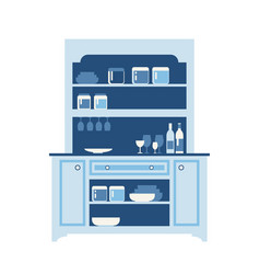 Hutch buffet with dishes of different bottles vector