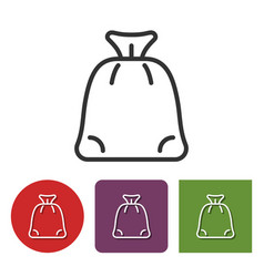 line icon of santa claus gifts bag vector image