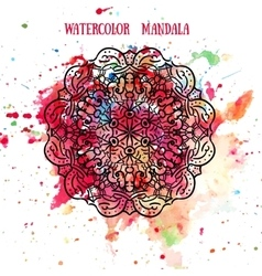 Mandala on watercolor background pattern lace vector