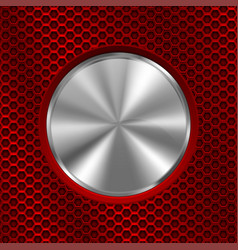 Metal chrome round button on red perforated vector
