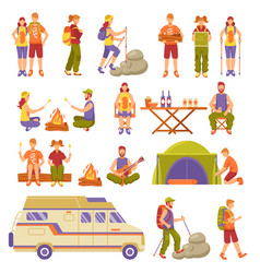 Outdoor summer travel icons set vector