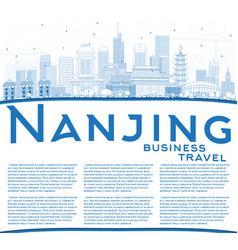 Outline nanjing china skyline with blue buildings vector