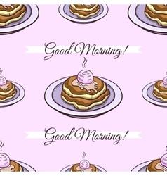 Pancakes pink seamless pattern vector