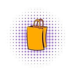 Paper shopping bag icon comics style vector image vector image