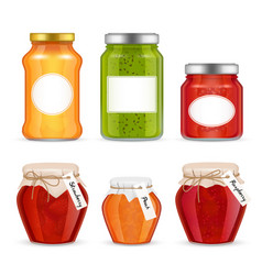realistic fruit jam jar icon set vector image vector image