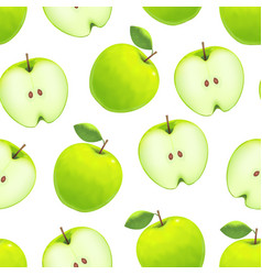 realistic green apple background pattern on a vector image vector image
