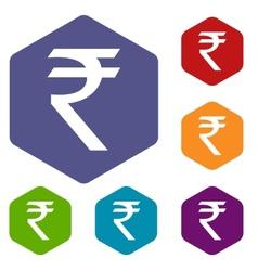 Rupee rhombus icons vector