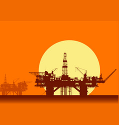 sea oil rigs offshore drilling platforms vector image