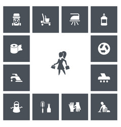 Set of 13 editable cleanup icons includes symbols vector