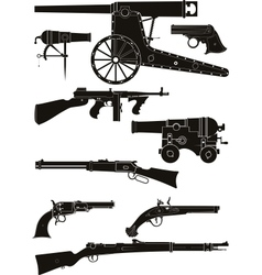 Silhouettes of classic firearms vector