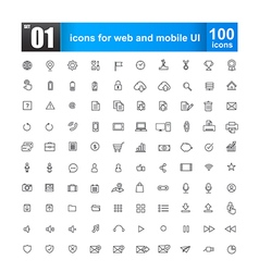 Simple line icons for web design and mobile ui vector image vector image