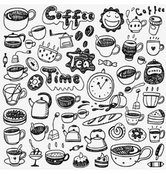 tea cups coffee doodles vector image