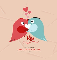 Valentine bird couple kissed lovely vector