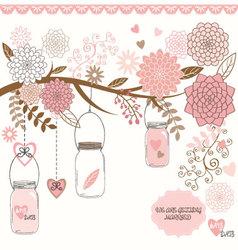 Wedding mason jar floral vector