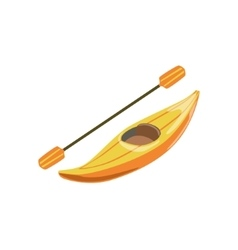 Yellow plastic one person canoe type of boat icon vector