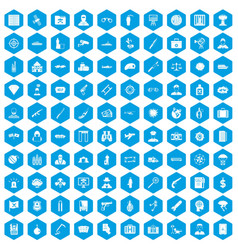 100 antiterrorism icons set blue vector