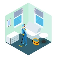 Floor cleaning isometric design vector
