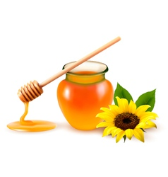 Jar of honey and a dipstick with yellow flower vector image