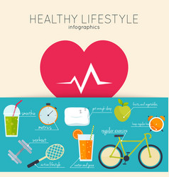 Concept of healthy lifestyle infographics icons vector