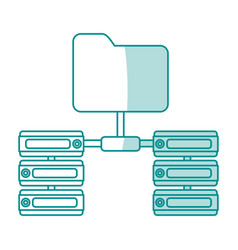blue shading silhouette of server network and vector image