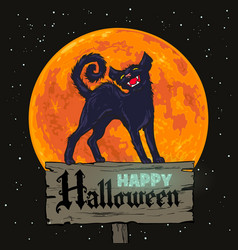 halloween black cat on full moon background vector image