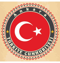 Vintage label cards of turkey flag vector